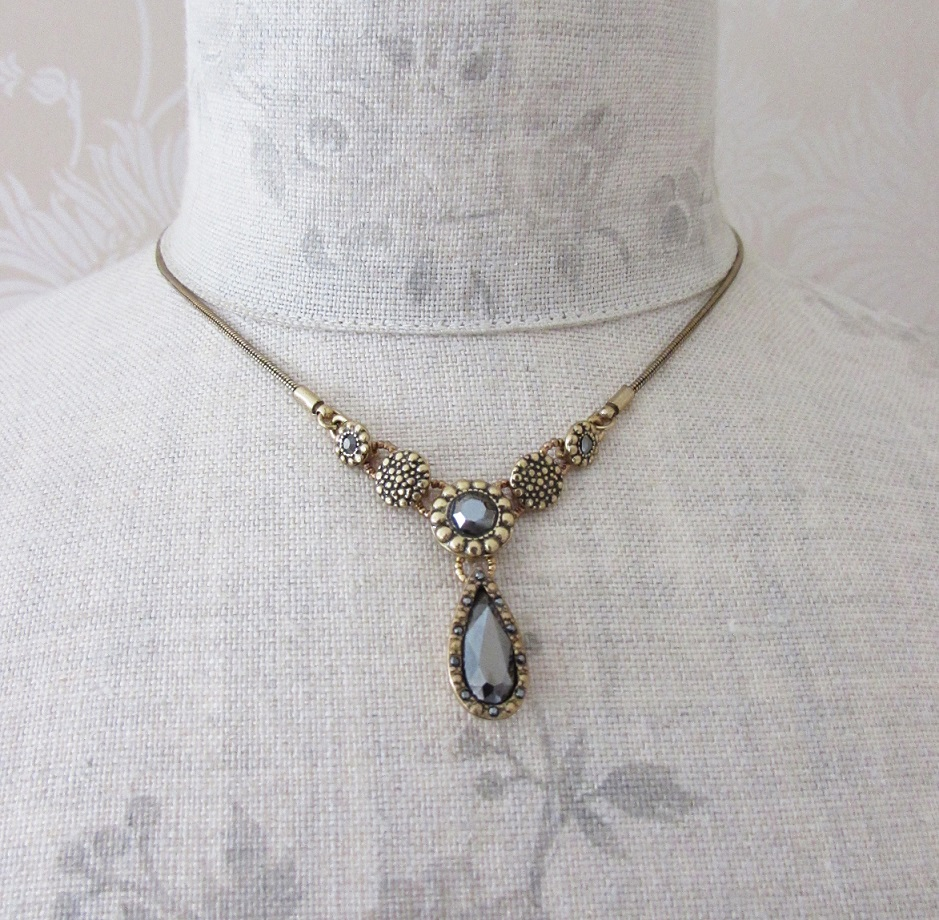 PILGRIM - Delicate Night - Necklace - Gold Plate/Haematite Crystals BNWT