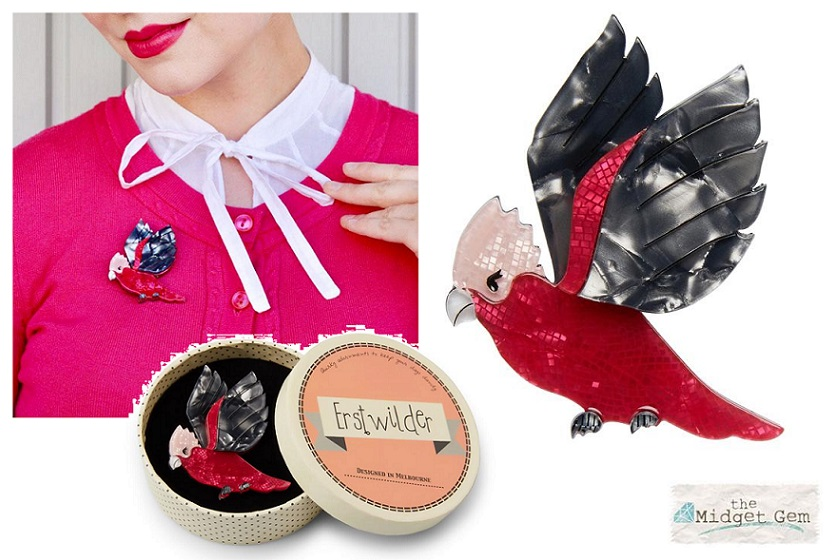 Girlberta the Galah - Erstwilder Pink & Grey Bird Brooch