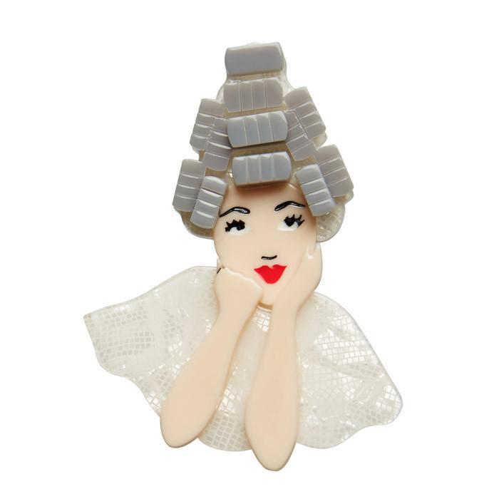 Beauty School Drop-out - Erstwilder GREASE Girl in Rollers Brooch