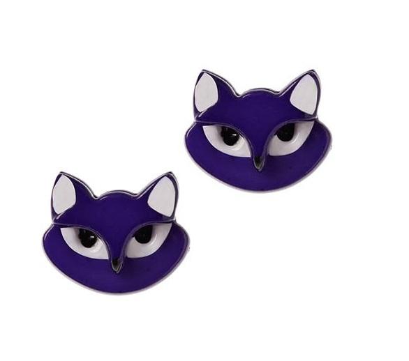 Clara Cat - Erstwilder Purple Stud Earrings
