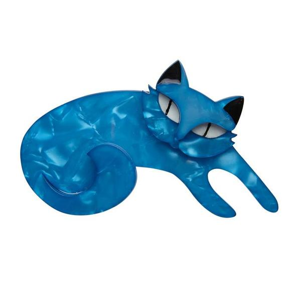Curling Cassandra - Blue Curved Cat Brooch