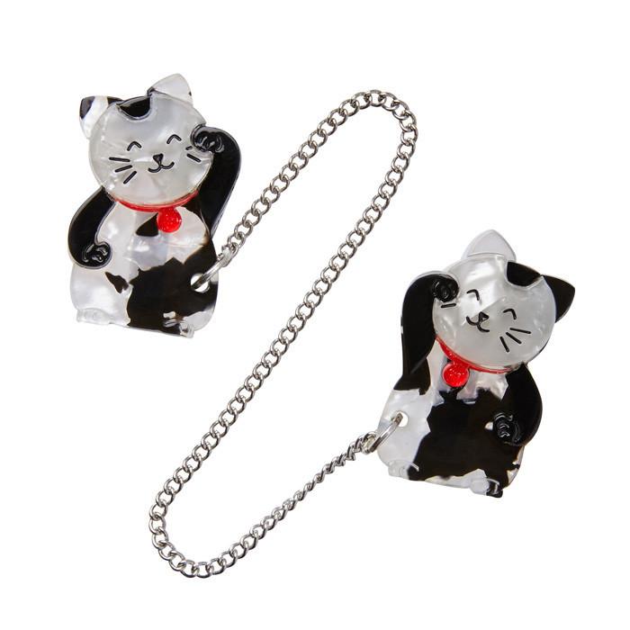 Nobel Neko - Erstwilder Double Lucky Cat Chain Brooch