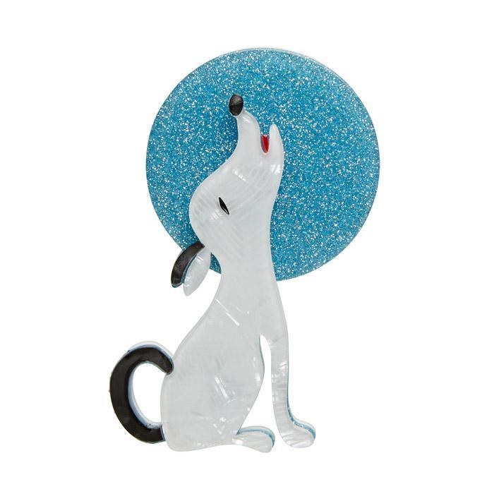 Ozzie the Orator - Erstwilder Dog Howling at the Moon Brooch
