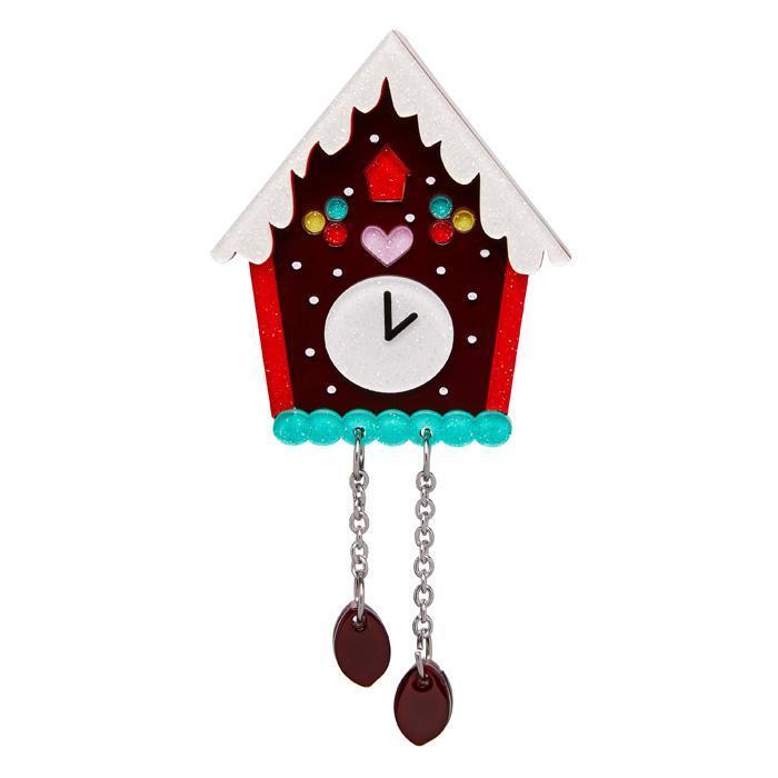 Past Midnight - Erstwilder Cuckoo Clock Brooch