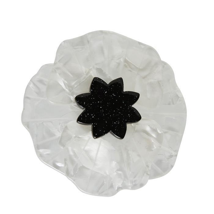 Poppy Field - Erstwilder White Peace Poppy Brooch