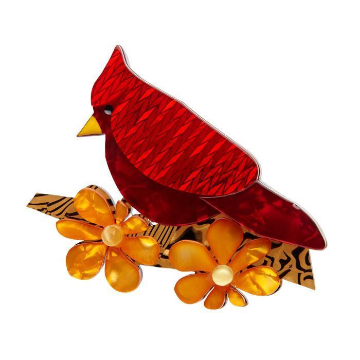 Ruby the Red Cardinal - Erstwilder Bird & Flower Brooch