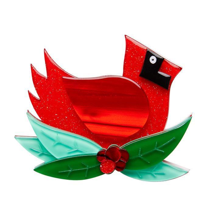 The Christmas Cardinal - Erstwilder Bird Brooch
