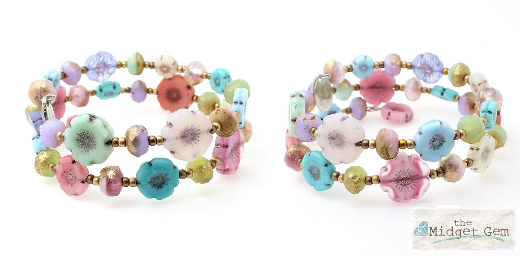Glass Wrap Bracelet - Etched Florals In Pastel Shades & Gold