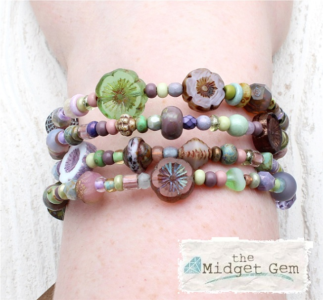 Glass Wrap Bracelet - Purple, Pink & Green Dolly Mixtures Mix