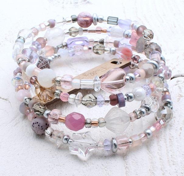 Glass Wrap Bracelet - Clear, Frost, Pink & Purple Mix