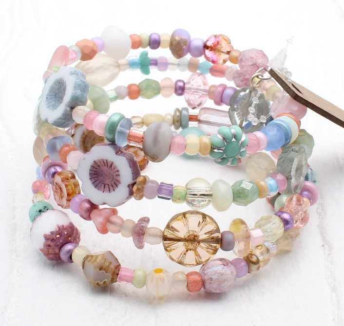 Pastel Sorbet Glass Bead Mix - 4 Loop Wrap Bracelet