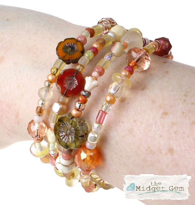 Glass Wrap Bracelet - Citrus Yellow & Orange Mix