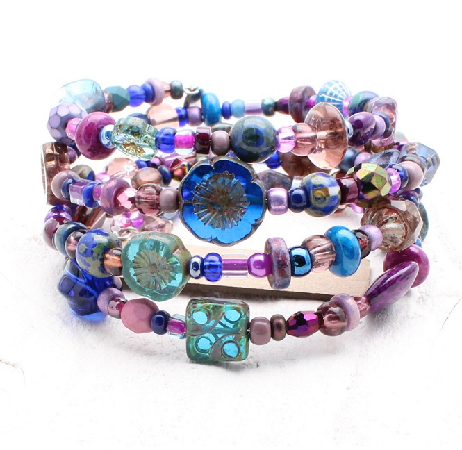 Blue, Teal & Purple Glass Bead Mix - 4 Loop Wrap Bracelet