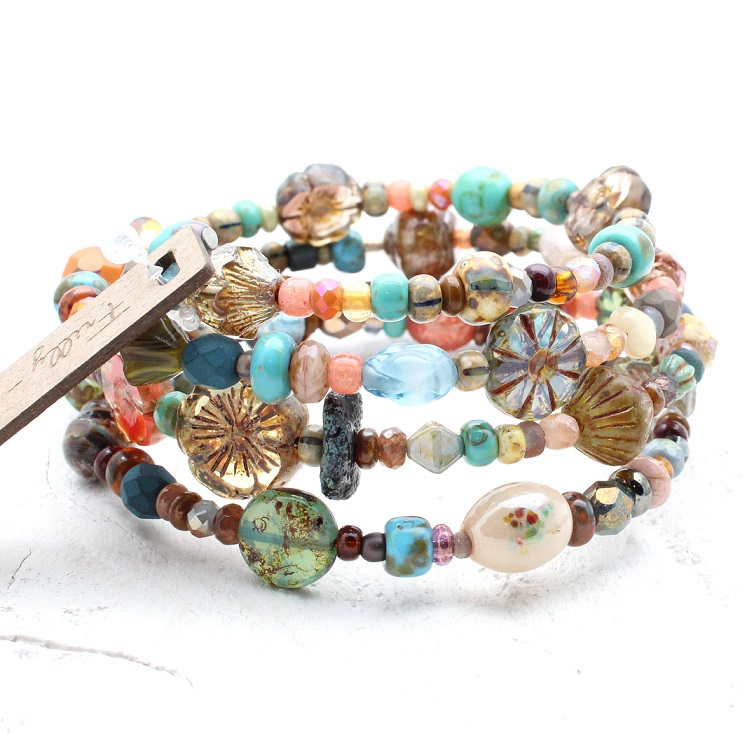Glass Wrap Bracelet - Earthy Orange, Brown & Blue Mix