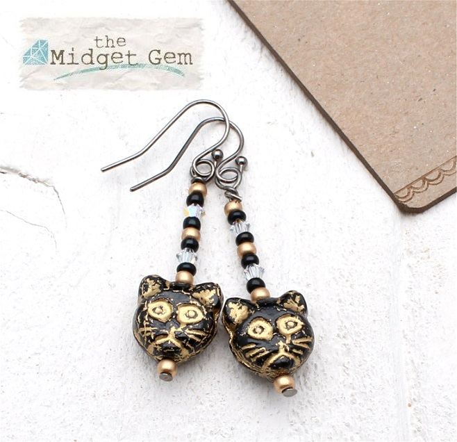 Czech Cat Glass earrings - Black, Clear & Gold - Haematite Plated
