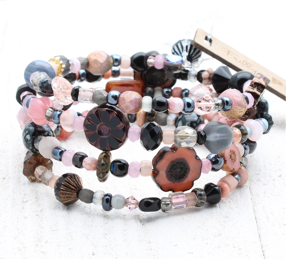 Dusty Pink, Grey & Black Glass Bead Mix - 4 Loop Wrap Bracelet