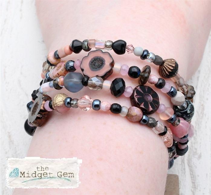 Glass Wrap Bracelet - Dusty Pink, Grey & Black