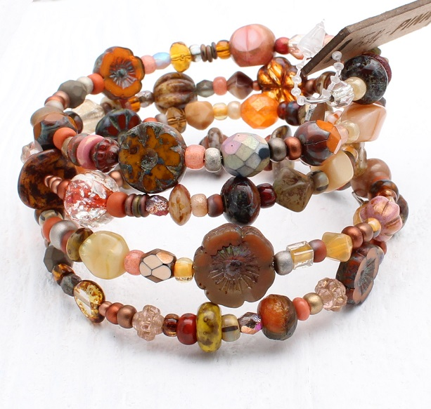 Burnt Sienna, Orange & Picasso Glass Bead Mix - 4 Loop Wrap Bracelet