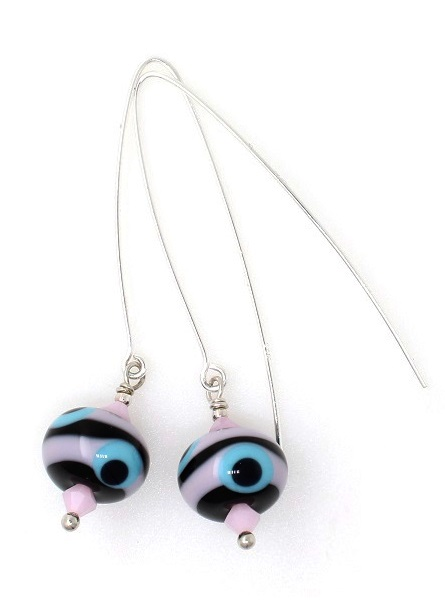 Moretti Glass Bead Earrings - Black, Pink & Turquoise - Sterling Silver Hooks