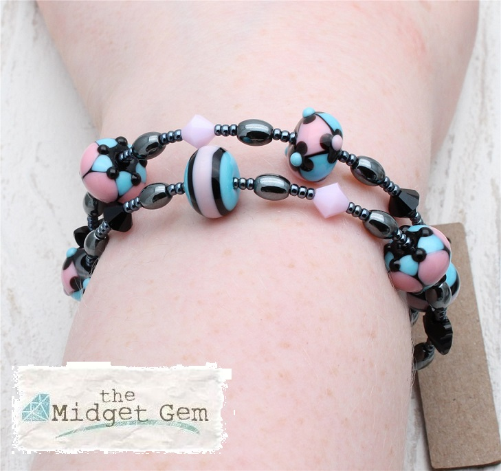 Lamp-work Glass & Haematite Wrap Bracelet - Pink, Black & Turquoise Blue