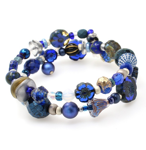 Navy Blue & Silver Glass Bead Mixture Double Loop Wrap Bracelet #1