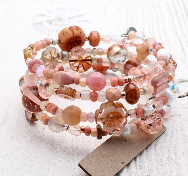 Glass Wrap Bracelet - Dusty Pink, Peach & Silver Mix
