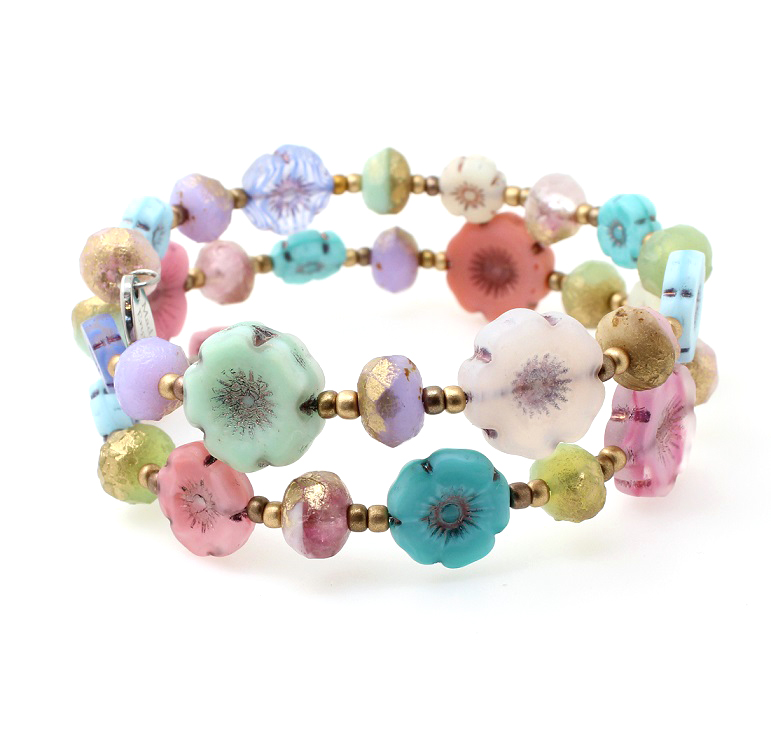 Etched Florals In Pastel Shades & Gold - 2 Loop LIMITED EDITION Wrap Bracelet