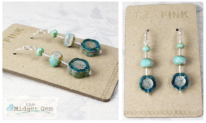 Czech Glass Flower Earrings - Sea-Foam Mix - Turquoise Blue & Green - Sterling Silver