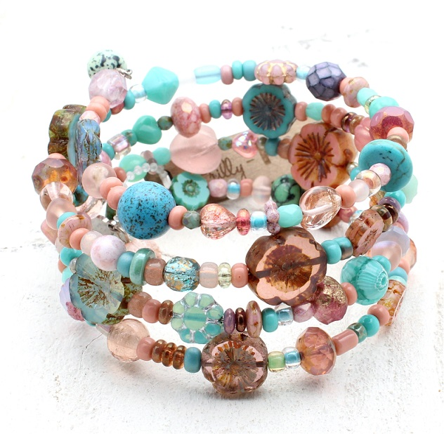 Turquoise & Dusty Pink Glass Bead Mix - 4 Loop Wrap Bracelet