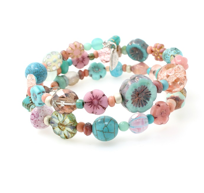 Turquoise & Dusty Pink Glass Bead Mix Double Loop Wrap Bracelet