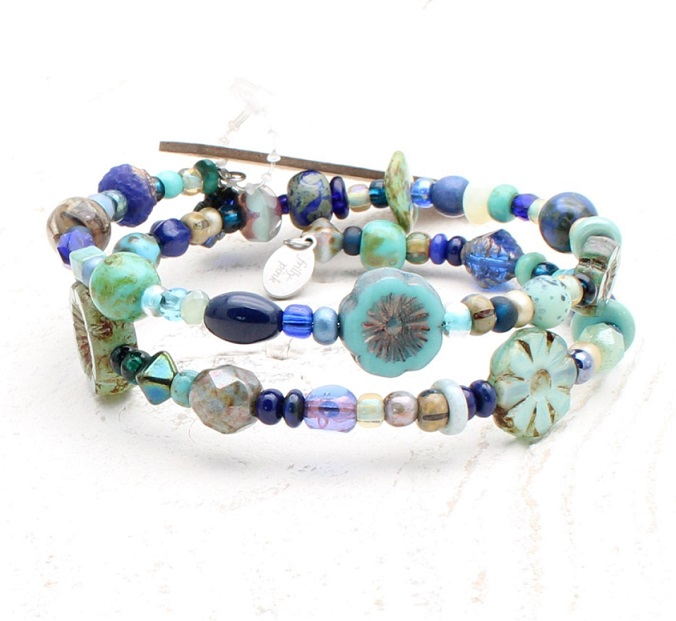 Navy & Turquoise Bead Mix Double Loop Wrap Bracelet