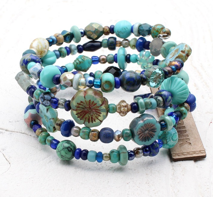 Navy & Turquoise Glass Bead Mix - 4 Loop Wrap Bracelet
