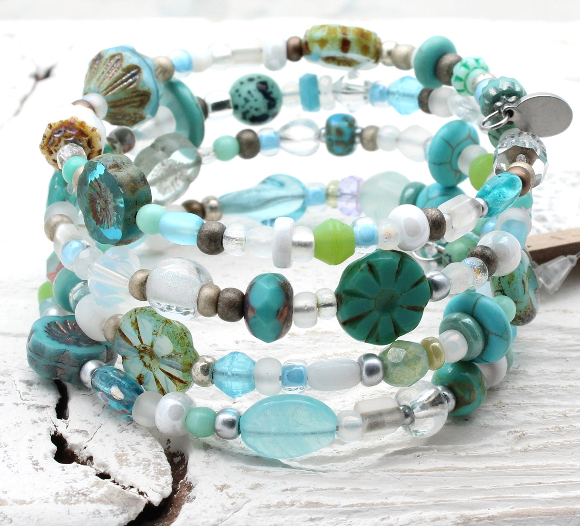 Turquoise, Sea-Foam & White Glass Bead Mix - 4 Loop Wrap Bracelet