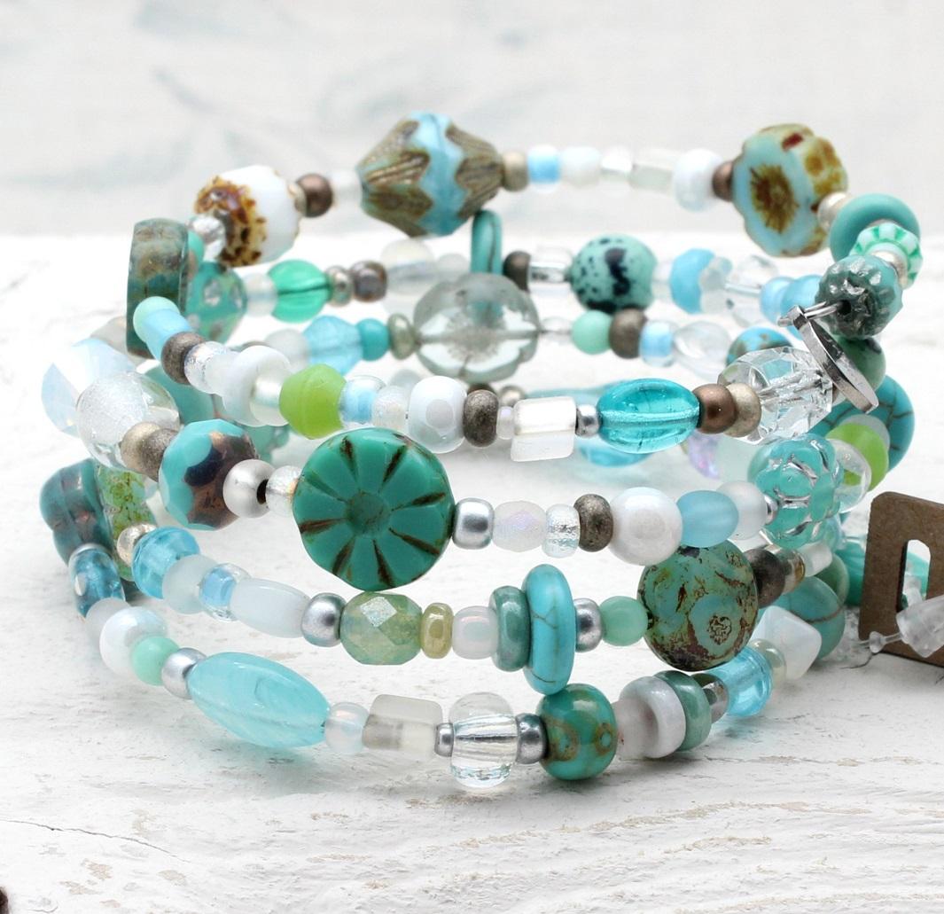 Glass Wrap Bracelet - Turquoise, Sea-Foam & White Mix