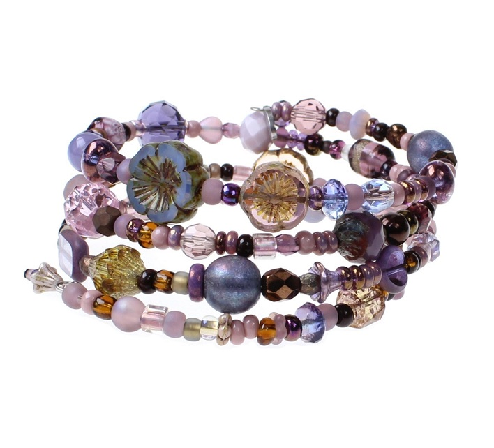 Purple & Bronze Metallic Glass Bead Mix - 4 Loop Wrap Bracelet