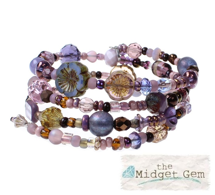 Purple & Bronze Metallic Glass Bead Mix - 4 Loop Wrap Bracelet