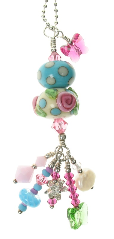 Glass Duo Pendant - Turquoise/Ivory Polka Dots With Pink Roses OOAK