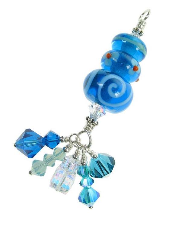 OOAK Glass Trio Bead Pendant - Azure/Aqua Blue