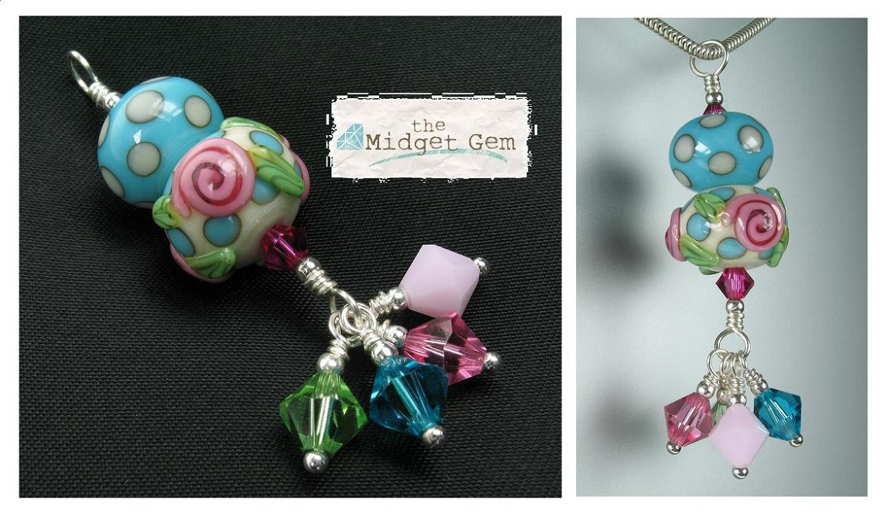 Glass Duo Pendant - Turquoise/Ivory Polka Dots With Pink Roses