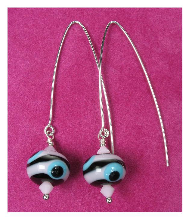 OOAK GLASSIER Glass Bead Earrings - Black, Pink & Turquoise