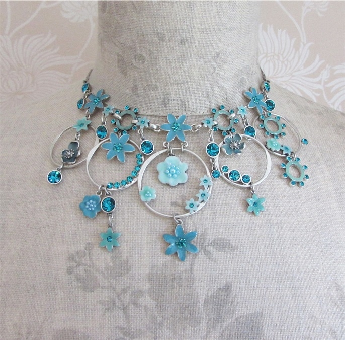 PILGRIM - ENCHANTED FLOWER Necklace - Aqua Blue Vintage Silver Swarovski BNWT