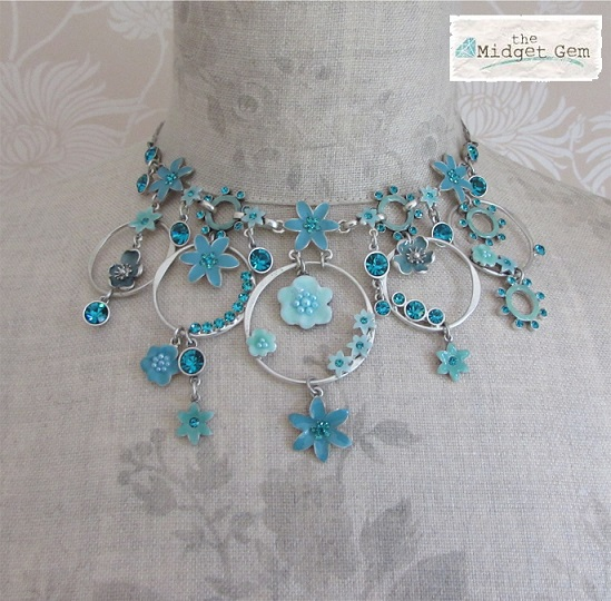 PILGRIM Necklace ENCHANTED FLOWER Aqua Blue Vintage Silver Swarovski BNWT
