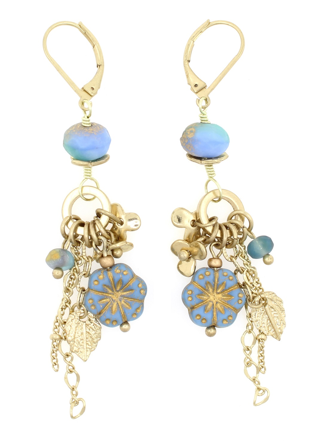 Prunus Flower Czech Glass Earrings - Wedgewood Blue, Aqua Green - 9KT Gold Plated BNWT