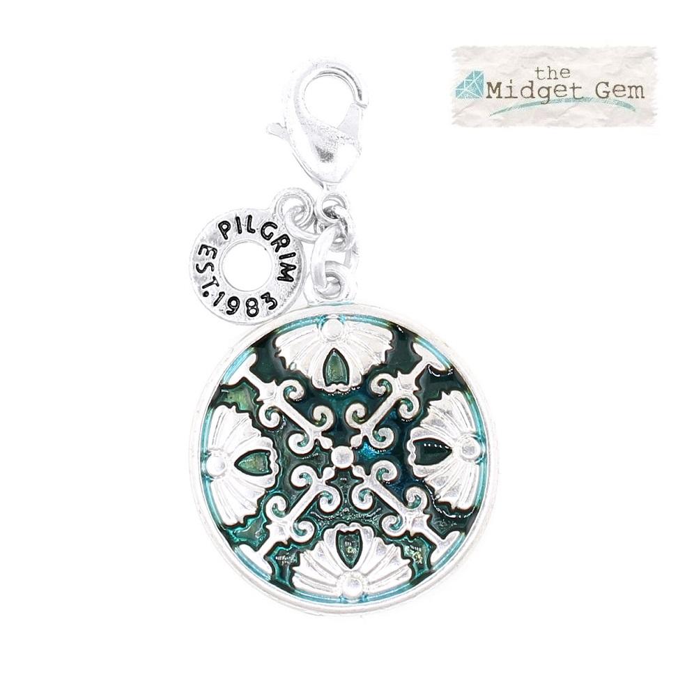 Pilgrim Charm - Arabesque Disc - Silver Plate/Aqua Blue BNWT