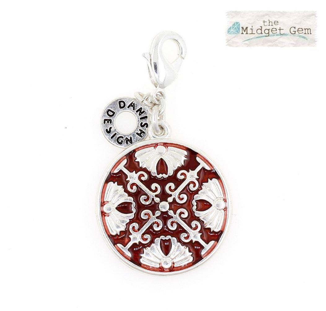 Pilgrim Charm - Arabesque Disc - Silver Plate/Red BNWT