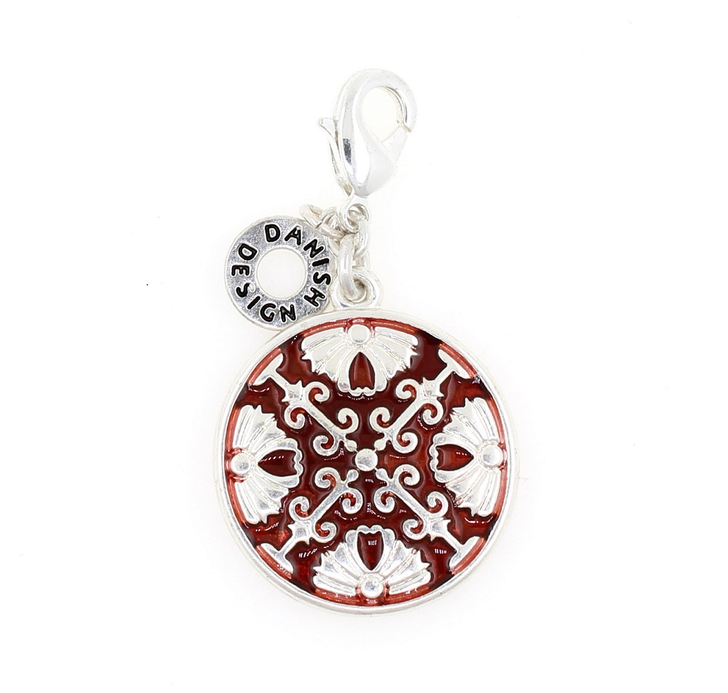 Pilgrim Charm - Arabesque Disc - Silver Plate/Red BNWT