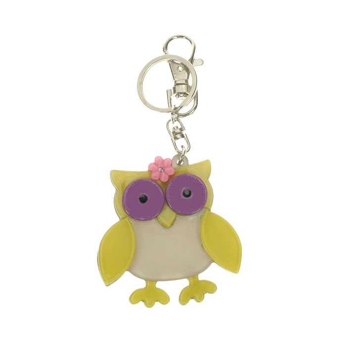BIG BABY - Owl & Flower Keyring/Bag Charm - Yellow, Grey & Purple