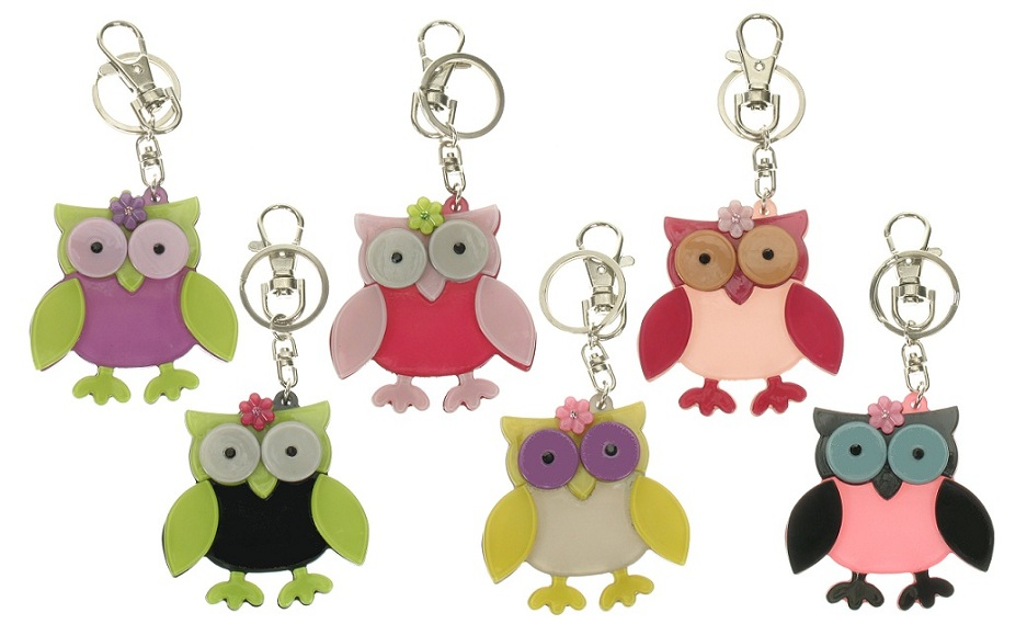 BIG BABY Owl & Flower Keyring/Bag Charm