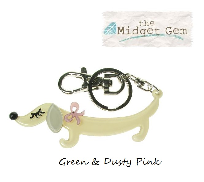 BIG BABY - Sausage Dachshund Dog Keyring/Bag Charm - Green/Dusty Pink