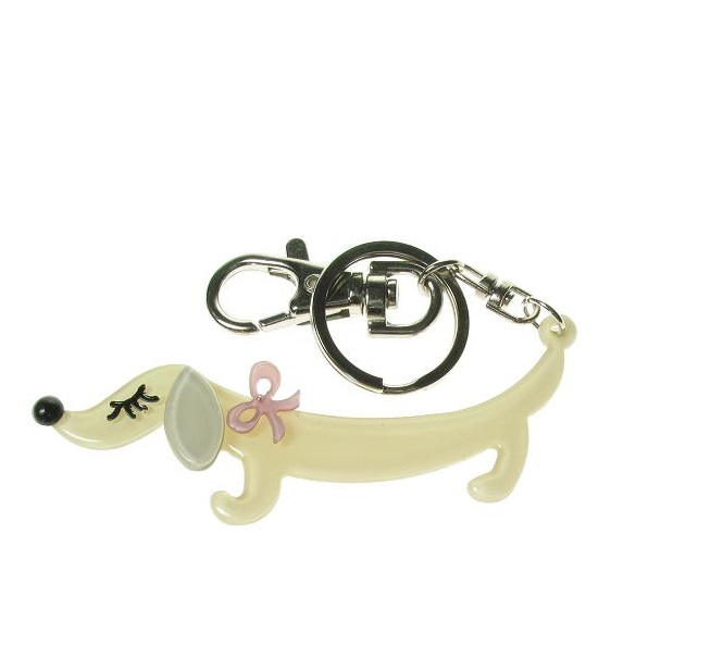 BIG BABY - Sausage Dachshund Dog Keyring/Bag Charm - Green/Dusty Pink